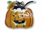 Kitty in Pumpkin Sterling Silver Enameled Pin