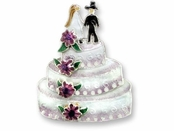 Wedding Cake Sterling Silver Enameled Pin