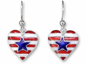Heart of America Sterling Silver Enameled Earrings by Zarah