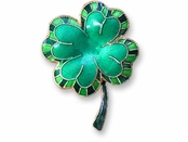 Lucky Clover Sterling Silver Enameled Pin