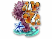 Clownfish Duo Sterling Silver Enameled Pin