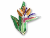Bird of Paradise Sterling Silver Enameled Pin