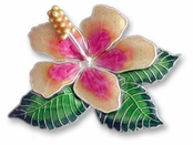 Hibiscus Sterling Silver Enameled Pin