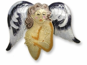 Shy Angel Sterling Silver Enameled Pin