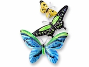 Tropical Butterflies Sterling Silver Enameled Pin