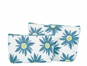 Azure Daisy Zip Bags Set of Two by rockflowerpaper
