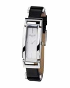 Women's Tank Case Black Leather Band Watch by Kenneth Cole