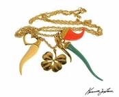 Turquoise Coral Multi & Gold Charms Necklace by Kenneth Jay Lane