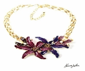 Bold Multi Flowers Double Strand Necklace by Kenneth Jay Lane