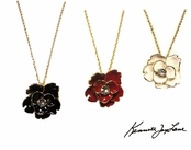 Enamel Crystal Center Flower Necklace by Kenneth Jay Lane