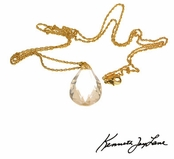"Rock Crystal Teardrop 30"" Gold Necklace by Kenneth Jay Lane"