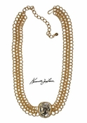 Crystal Front Gold Chain Necklace by Kenneth Jay Lane