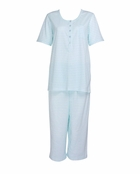 Carole Hochman Morningside Floral Blue Stripe Crop Pajama