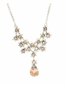 Swarovski Crystal Floral Filigree Faceted Drop Necklace by Kenny Ma