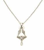 Swarovski Crystal Floral Filigree Chandelier Drop Necklace by Kenny Ma