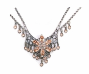 Swarovski Crystal Light Peach Multi Flower & Channels Necklace by Kenny Ma