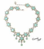 Swarovski Crystal Pacific Opal Floral Filigree Links Necklace by Kenny Ma