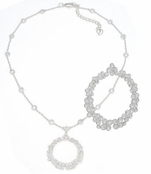 Intricate Crystal Circle Pendant Necklace by Carolee