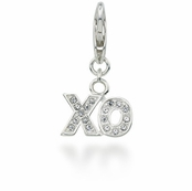 CAROLEE Sterling Silver Pave Crystal XO Hugs and Kisses Charm