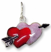 Double Heart Sterling Silver Enameled Charm