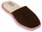 Sunday Chocolate & Pink Slide Slippers by Patricia Green
