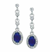 Blue Velvet Oval Drop Earrings by Spring Street