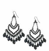Belle Noir Black Chandelier Earrings by Spring Street
