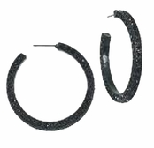 Belle Noir Black Hoop Earrings by Spring Street