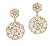 The Gilded Collection Crystal Lace Drop Earrings by Spring Street