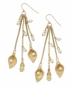 The Gilded Collection Leaves & Pearls Drop Earrings by Spring Street