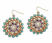 Spring Street Casablanca Nights Multi Color Medallion Drop Earrings