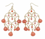 Spring Street Secret Garden Semi-Precious Coral Briolette Earrings