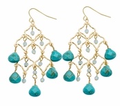 Spring Street Beach Glass Turquoise Briolettes Semi-Precious Chandelier Earrings