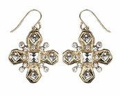 ABS Allen Schwartz Crystal Cross Drop Earrings