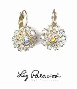 Swarovski Crystal Clear Layered Flower Leverback Earrings by Liz Palacios