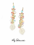 Swarovski Crystal & Gemstone Multi Cluster Line Drop Earrings by Liz Palacios