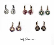 Swarovski Crystal Filigree Flower Leverback Earrings by Liz Palacios