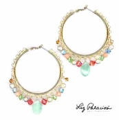 Swarovski Crystal & Gemstone Multi Gold Lace Hoops by Liz Palacios