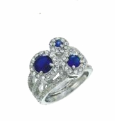 Blue Velvet Three Circle Ring by Spring Street