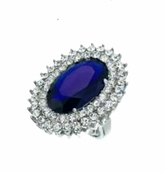 Blue Velvet Large Oval Ring by Spring Street