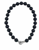 Evening Jazz Black Beaded Necklace With Crystal Clasp by Spring Street