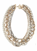 Mixed Chain & Pearl 8-Strand Necklace by Spring Street