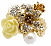 Floral Radiance  Flower Cluster Ring