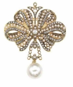 Vintage Treasures  Pearl Drop Crystal Bow Pin by Spring Street