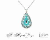 Swarovski Crystal Aqua Enameled Teardrop Pendant Necklace by Anne Koplik