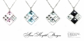 Swarovski Crystal Checkerboard Square Pendant Necklace by Anne Koplik