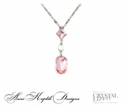 Swarovski Crystal Light Rose Multi Line Pendant Necklace by Anne Koplik