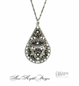Swarovski Crystal Black & White Teardrop Necklace by Anne Koplik