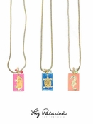 Enamel & Crystal Dog Tag Pendant Necklace by Liz Palacios