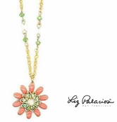 Peridot & Coral Swarovski Crystal Necklace by Liz Palacios
